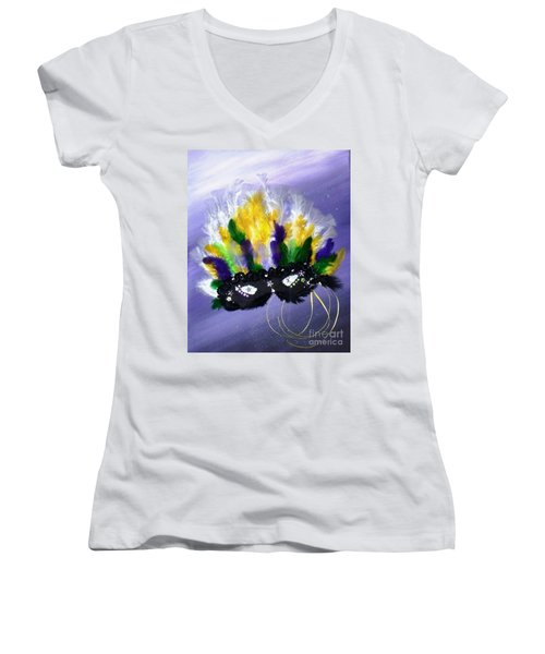 Women's V-Neck T-Shirt (Junior Cut) featuring the painting Masque Over Bourbon Street by Alys Caviness-Gober