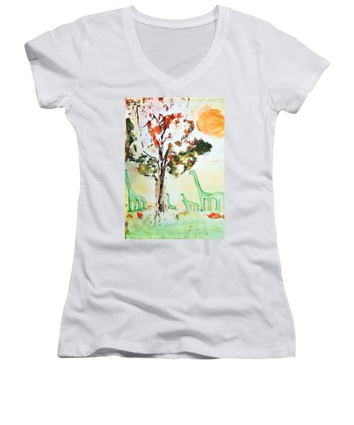 Women's V-Neck T-Shirt (Junior Cut) featuring the painting Matei's Dinosaurs by Evelina Popilian