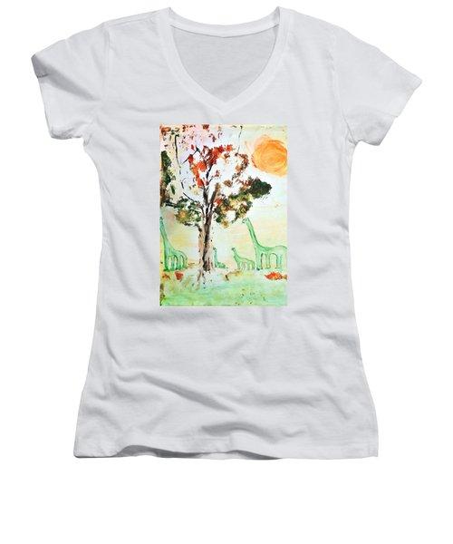 Matei's Dinosaurs Women's V-Neck T-Shirt