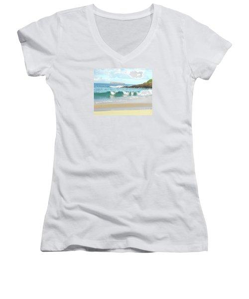Maui Hawaii Beach Women's V-Neck T-Shirt (Junior Cut) by Rebecca Margraf