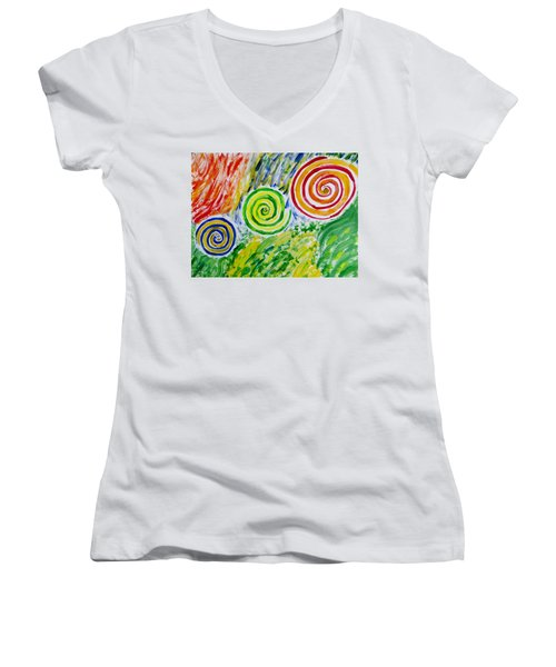 Women's V-Neck T-Shirt (Junior Cut) featuring the painting Meditation by Sonali Gangane