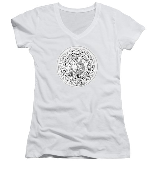 Mermaid In Black And White Round Circle With Water Fish Tail Face Hands  Women's V-Neck T-Shirt (Junior Cut) by Rachel Hershkovitz