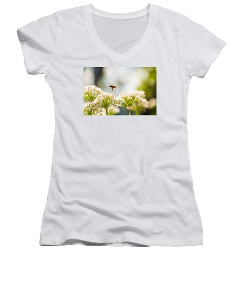 Women's V-Neck T-Shirt (Junior Cut) featuring the photograph Mid-pollenation by Cheryl Baxter