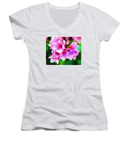 Women's V-Neck T-Shirt (Junior Cut) featuring the photograph Miniature Azaleas by Judi Bagwell