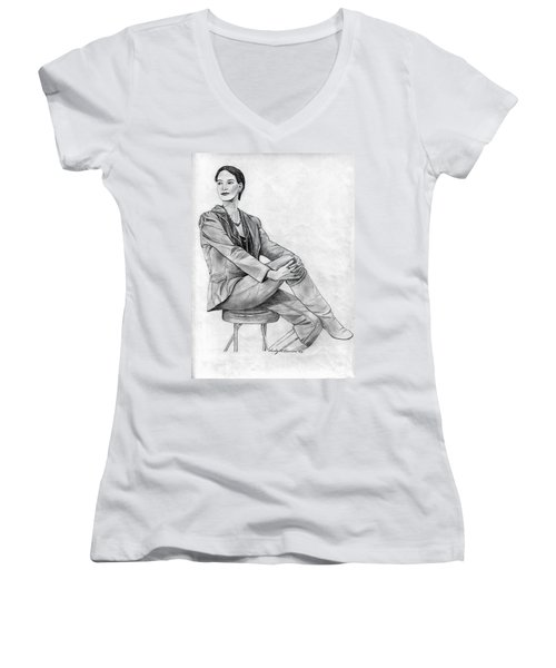 Women's V-Neck T-Shirt (Junior Cut) featuring the drawing Model by Wendy McKennon