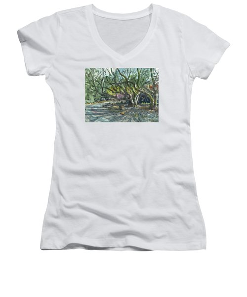 Women's V-Neck T-Shirt (Junior Cut) featuring the painting Monk Trees Two by Donald Maier