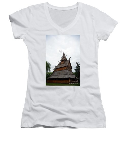 Moorhead Stave Church 26 Women's V-Neck T-Shirt