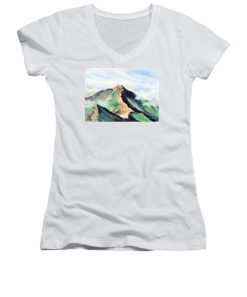 Women's V-Neck T-Shirt (Junior Cut) featuring the painting Mountain  1 by Yoshiko Mishina