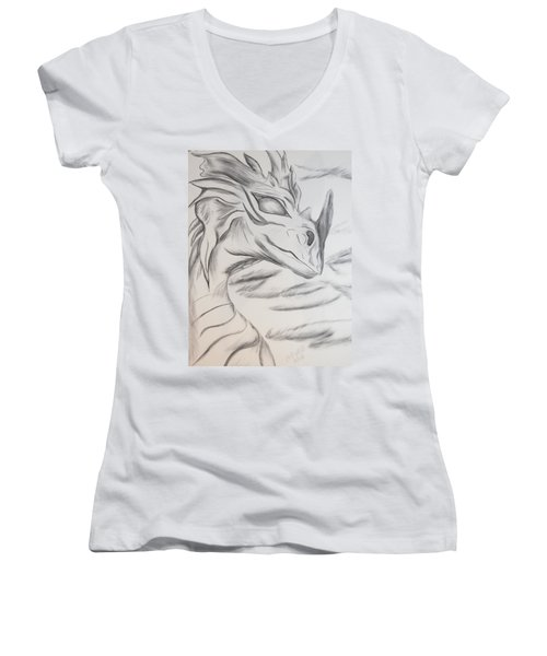 My Dragon Women's V-Neck T-Shirt (Junior Cut) by Maria Urso