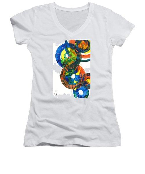 My Spherical Joy '' Jump Up ''  858.121711 Women's V-Neck T-Shirt (Junior Cut) by Kris Haas