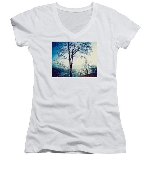 Women's V-Neck T-Shirt (Junior Cut) featuring the photograph Mystic Blue by Sara Frank