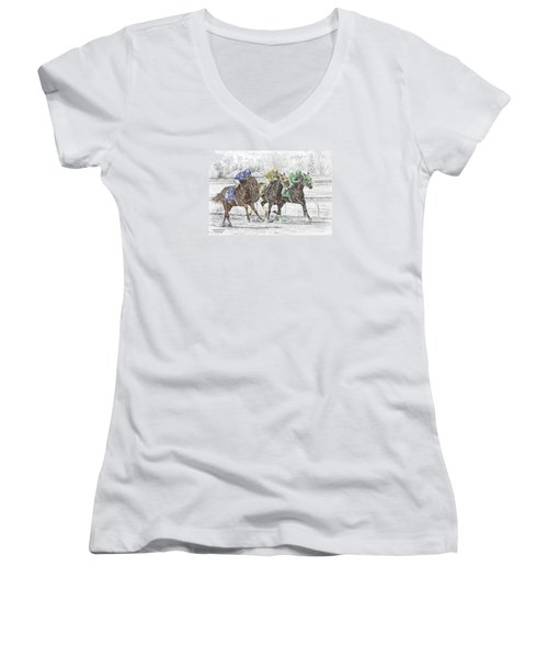Neck And Neck - Horse Race Print Color Tinted Women's V-Neck T-Shirt (Junior Cut) by Kelli Swan