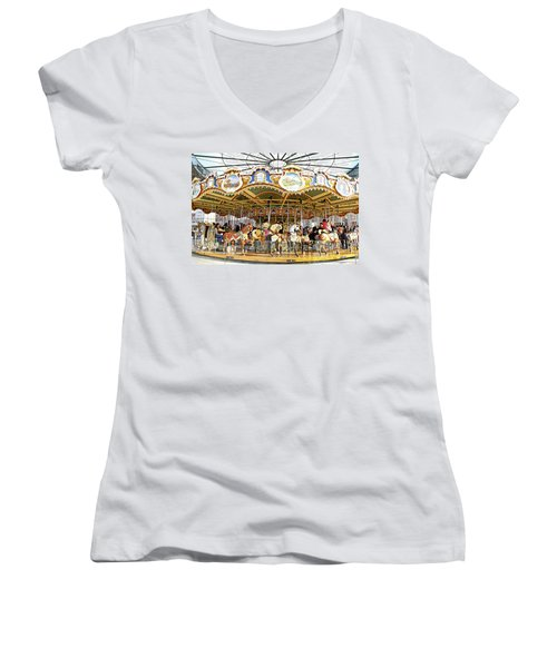 Women's V-Neck T-Shirt (Junior Cut) featuring the photograph New York Carousel by Alice Gipson