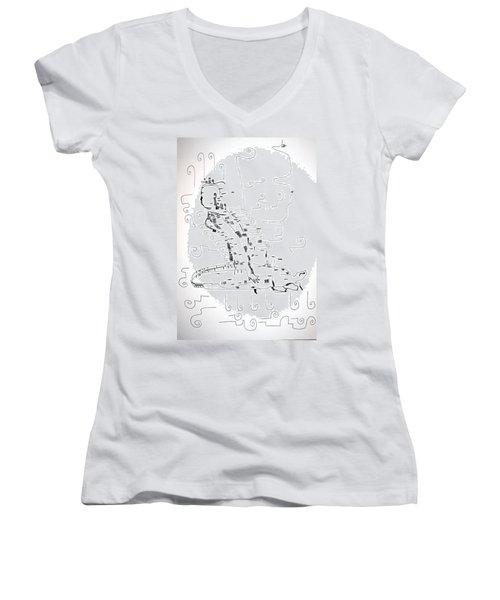 Women's V-Neck T-Shirt (Junior Cut) featuring the drawing Ngwale Dance - Botswana by Gloria Ssali