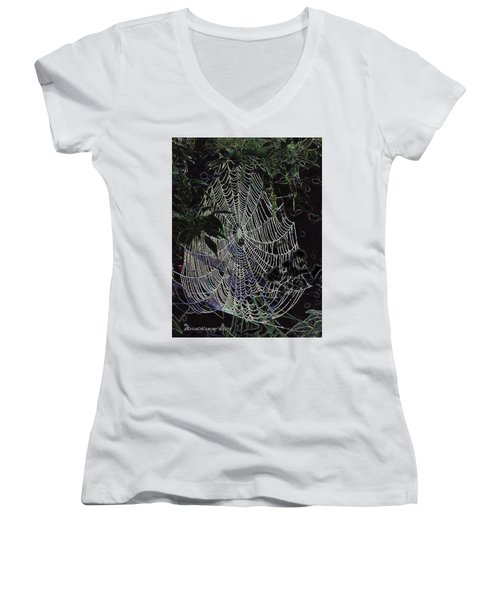 Night Lines Women's V-Neck T-Shirt (Junior Cut) by EricaMaxine  Price