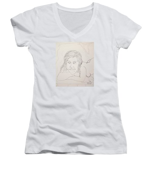 Nude Contour In Ink Women's V-Neck (Athletic Fit)