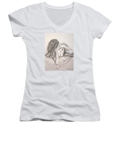 Nude On Pillow Women's V-Neck T-Shirt (Junior Cut) by Rand Swift