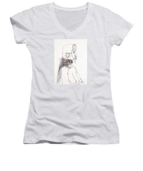 Nude With Hat On Bus Women's V-Neck T-Shirt (Junior Cut) by Rand Swift