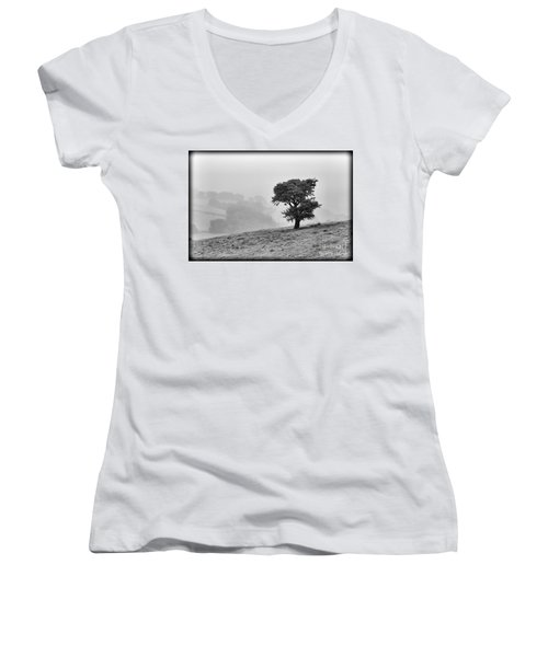 Women's V-Neck T-Shirt (Junior Cut) featuring the photograph Oak Tree In The Mist. by Clare Bambers