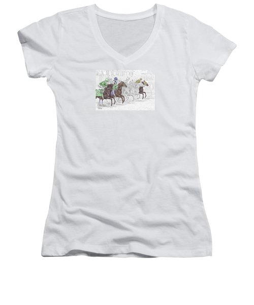 Odds Are - Tb Horse Racing Print Color Tinted Women's V-Neck T-Shirt (Junior Cut) by Kelli Swan
