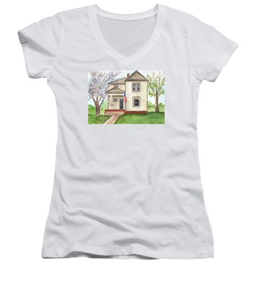 Women's V-Neck T-Shirt (Junior Cut) featuring the painting Ohio Cottage With Flag by Clara Sue Beym