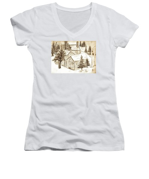 Women's V-Neck T-Shirt (Junior Cut) featuring the drawing Old Colorado by Shannon Harrington