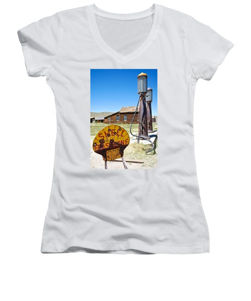 Old Gas Pumps Women's V-Neck