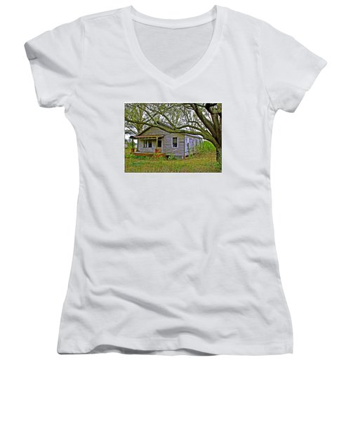 Women's V-Neck T-Shirt (Junior Cut) featuring the photograph Old Gray House by Judi Bagwell