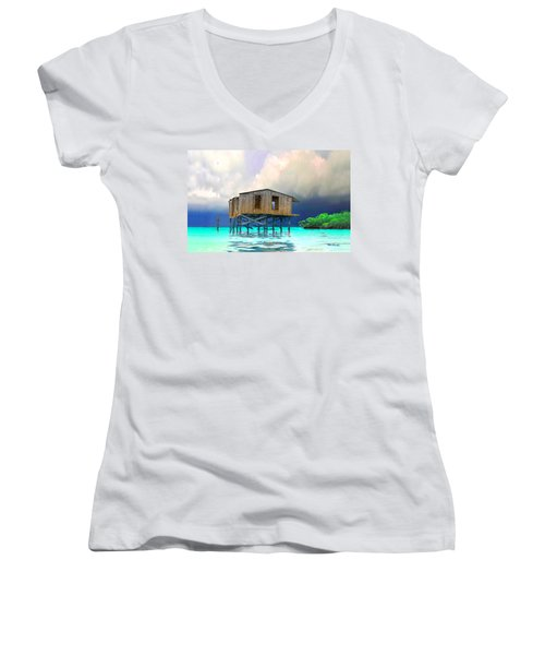 Old House Near The Storm Filtered Women's V-Neck