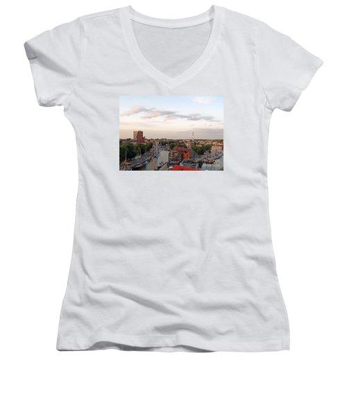 Old Town Klaipeda. Lithuania. Women's V-Neck T-Shirt (Junior Cut) by Ausra Huntington nee Paulauskaite