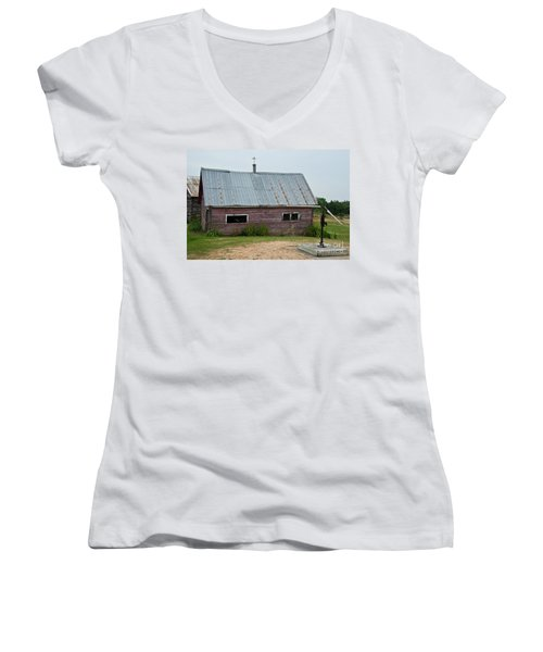 Women's V-Neck T-Shirt (Junior Cut) featuring the photograph Old Wood Shed  by Barbara McMahon