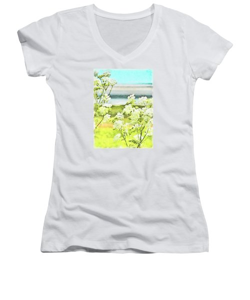 Women's V-Neck T-Shirt (Junior Cut) featuring the digital art On The Mudflats Of Pegwell Bay by Steve Taylor