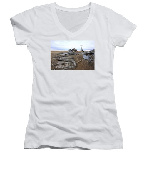 Women's V-Neck T-Shirt (Junior Cut) featuring the photograph Once There Was A Farm by James Steele