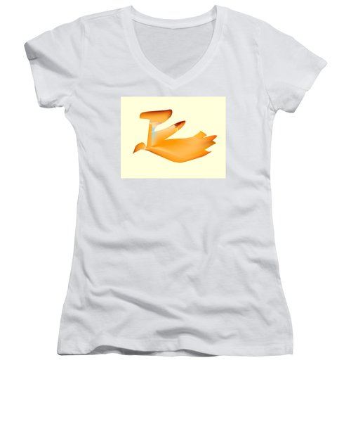 Orange Jetpack Penguin Women's V-Neck