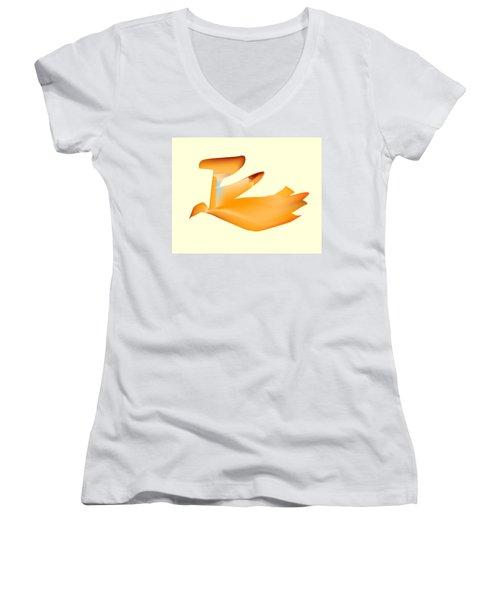 Orange Jetpack Penguin Women's V-Neck T-Shirt (Junior Cut) by Kevin McLaughlin