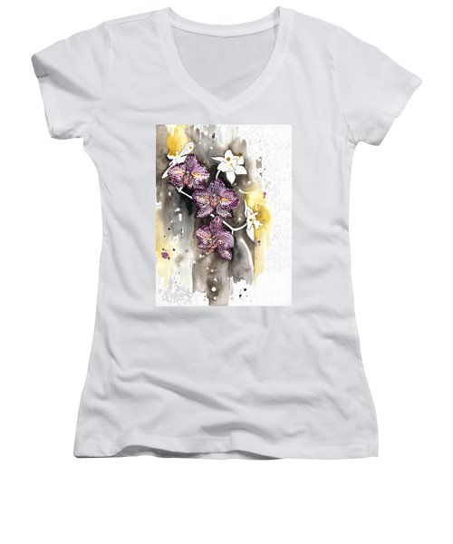 Orchid 13 Elena Yakubovich Women's V-Neck T-Shirt (Junior Cut) by Elena Yakubovich