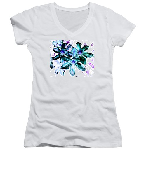 Organic Techno Flowers Women's V-Neck T-Shirt (Junior Cut) by Lisa Brandel