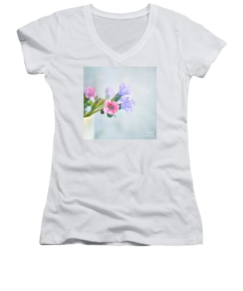 Pale Pink And Purple Pulmonaria Flowers Women's V-Neck T-Shirt (Junior Cut) by Lyn Randle