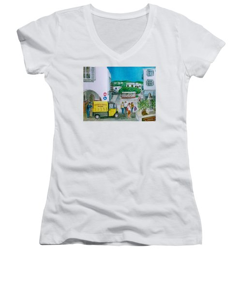 Patmos Fish Monger Women's V-Neck T-Shirt (Junior Cut) by Frank Hunter