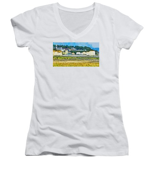 Women's V-Neck T-Shirt (Junior Cut) featuring the digital art Pegwell Bay by Steve Taylor