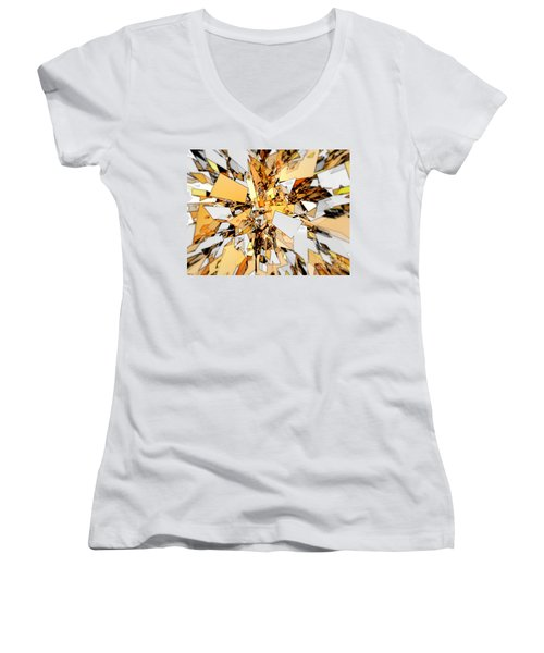 Women's V-Neck T-Shirt (Junior Cut) featuring the digital art Pieces Of Gold by Phil Perkins
