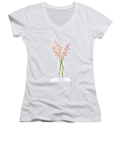 Pink Orchid In Vase Women's V-Neck T-Shirt (Junior Cut) by Atiketta Sangasaeng