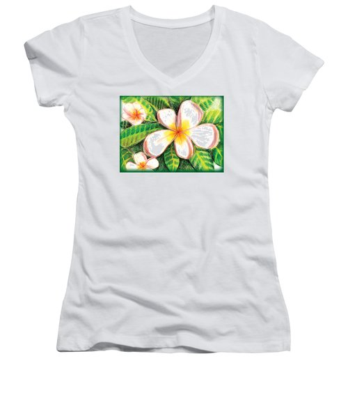 Plumeria With Foliage Women's V-Neck