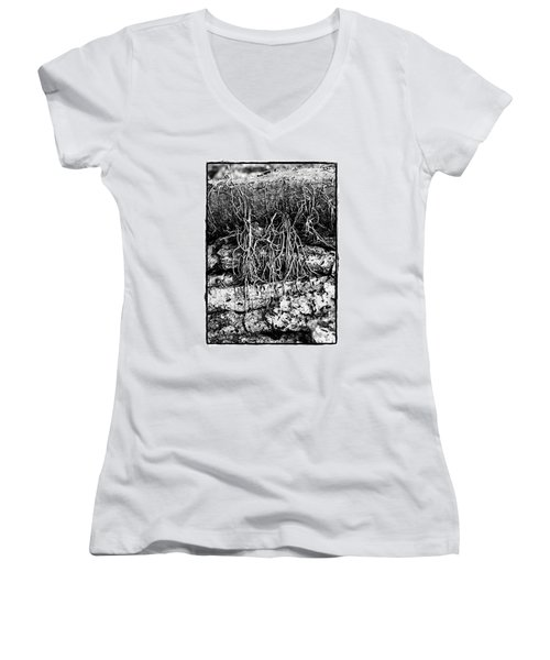 Women's V-Neck T-Shirt (Junior Cut) featuring the photograph Poison Ivy Roots by Judi Bagwell