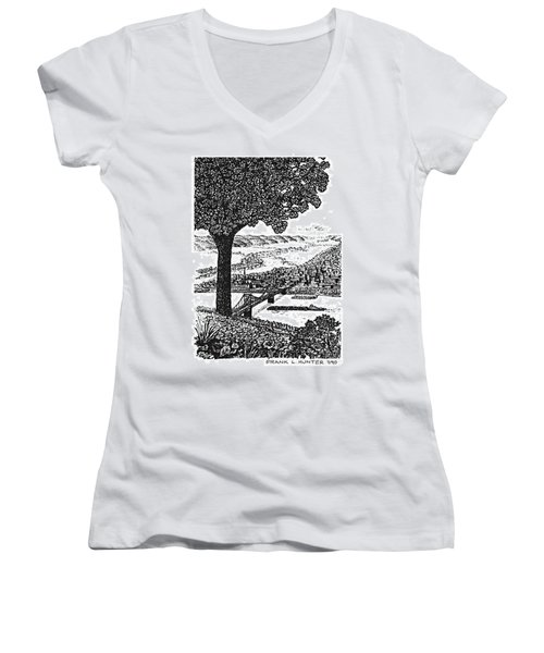 Portsmouth Ohio From A Kentucky Hill Women's V-Neck T-Shirt (Junior Cut) by Frank Hunter