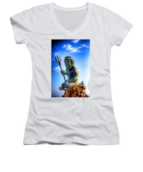 Poseidon Women's V-Neck T-Shirt (Junior Cut) by Dan Stone