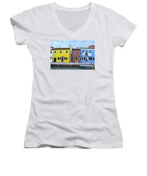 Women's V-Neck T-Shirt (Junior Cut) featuring the photograph Primary Colors In Burano Italy by Rebecca Margraf