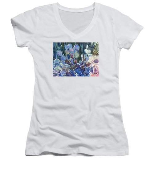Women's V-Neck T-Shirt (Junior Cut) featuring the painting Purple Opuntia by Donald Maier