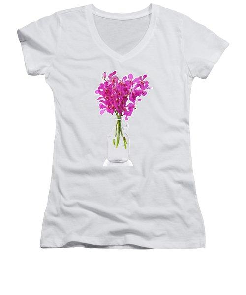 Purple Orchid In Bottle Women's V-Neck T-Shirt (Junior Cut) by Atiketta Sangasaeng