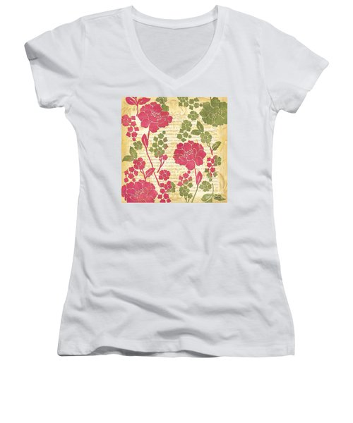 Raspberry Sorbet Floral 1 Women's V-Neck T-Shirt (Junior Cut) by Debbie DeWitt